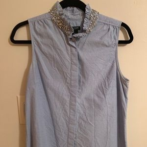 J Crew Crystal Button Down Tank